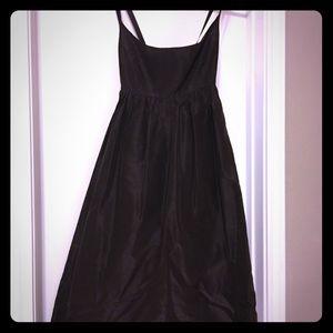 Brown silk, cross-back dress
